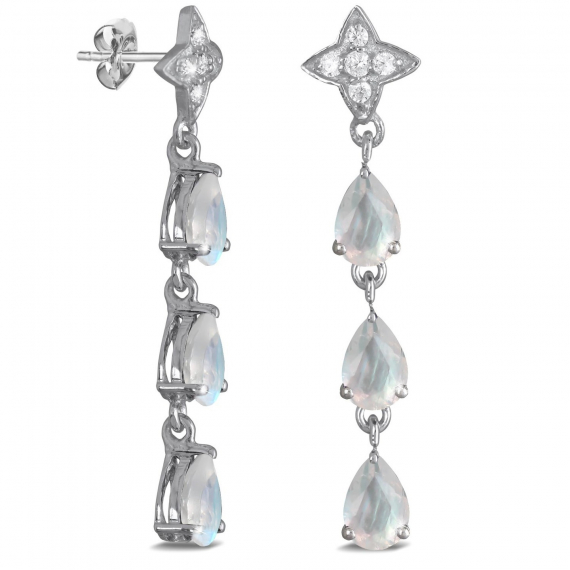 925 Sterling Silver Moon Pear Shape Earrings