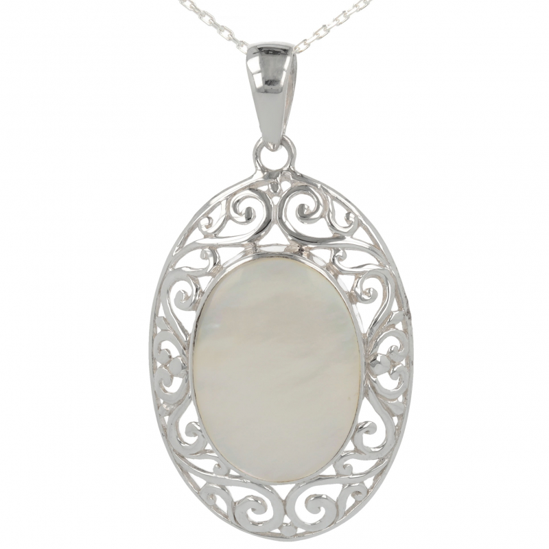 Gift cabochon jewelry-Pendant-Mother of Pearl White- Sterling silver-oval-unisex