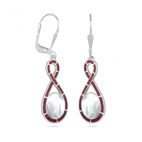 925 Sterling Silver Coral and White Mother-of-pearl Earrings