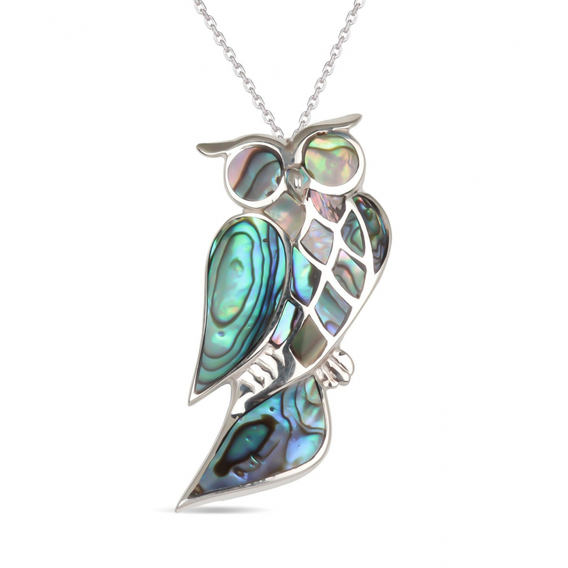 925 Sterling Silver Abalone Mother-of-pearl Owl Pendant