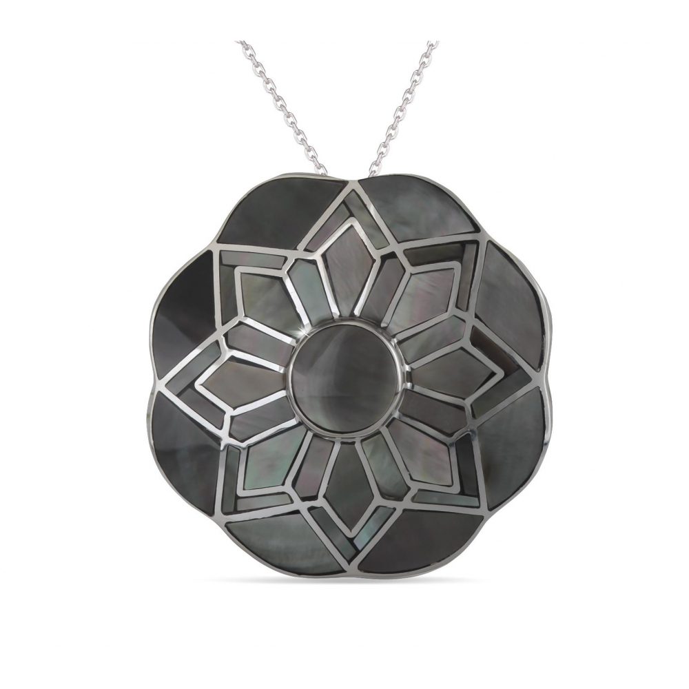 925 Sterling Silver Grey Mother-of-pearl Round Shape Pendant