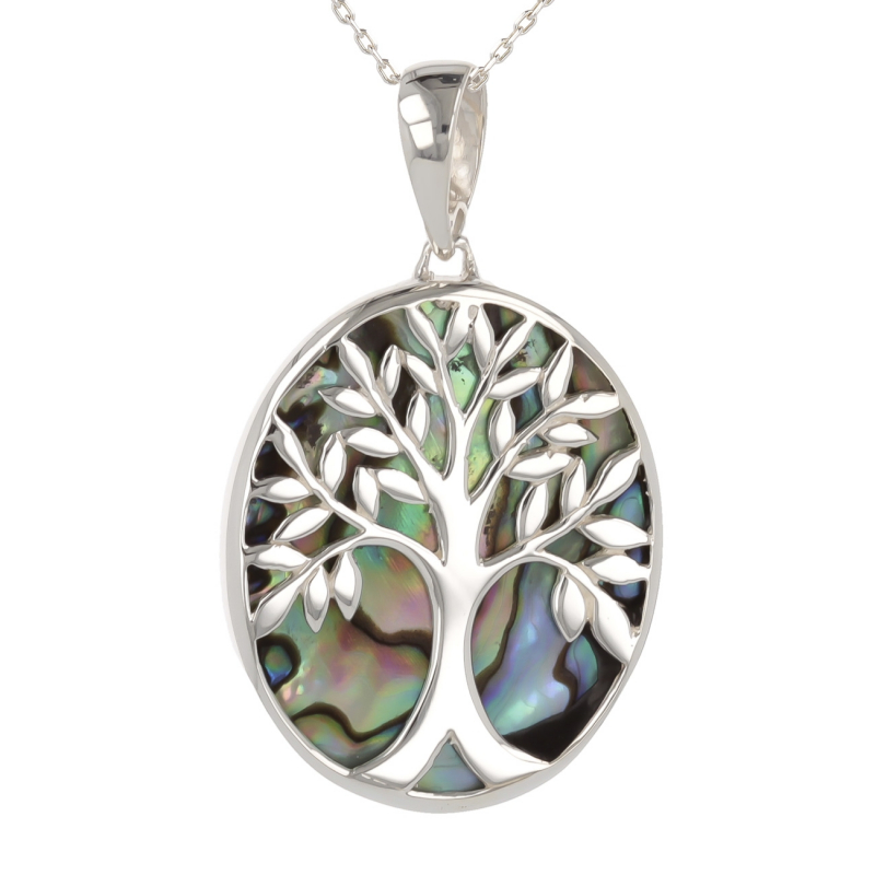 Jewelery Gift Symbol Tree of Life-Pendant - Mother of Pearl Abalone- Sterling Silver-Oval-Unisex