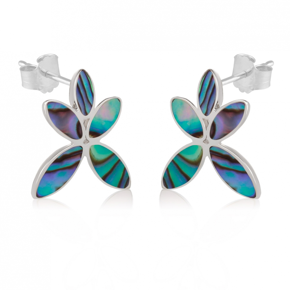 gift woman-Earrings Flower-Mother of pearl abalone-Sterling silver-Woman