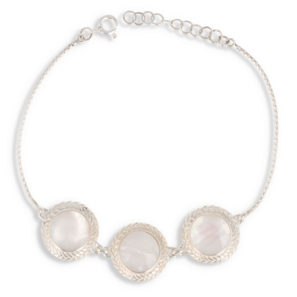 925 Sterling Silver White Mother-of-pearl Round Shape Bracelet