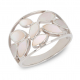 Gift jewelry-Ring-White mother of pearl-Flower-Sterling Silver-Women