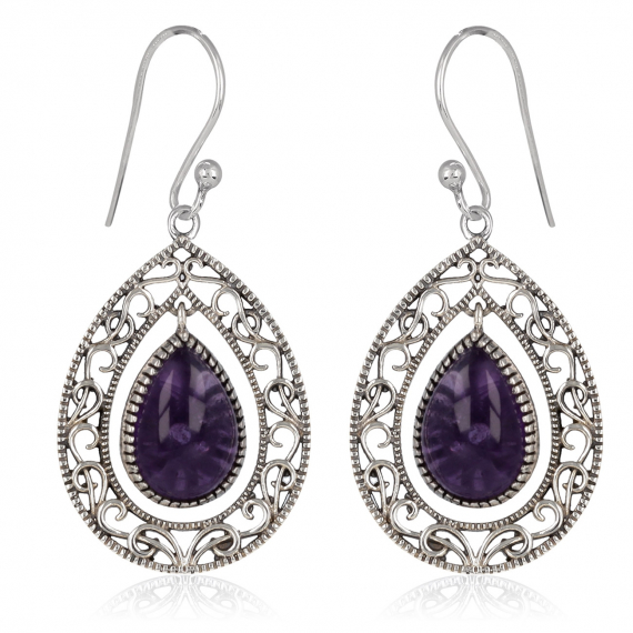 925 Sterling Silver Amethyst Pear Shape Earrings