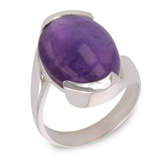 925 Sterling Silver Amethyst Oval Shape Ring