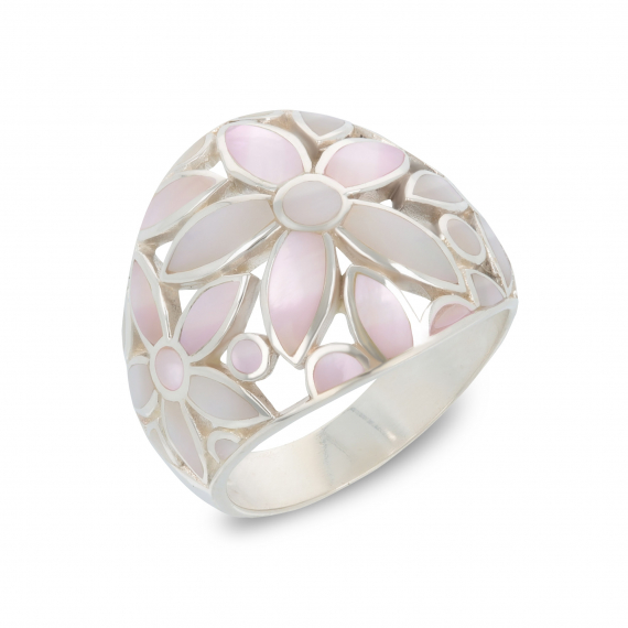 925 Sterling Silver Pink Mother-of-pearl Flower Ring