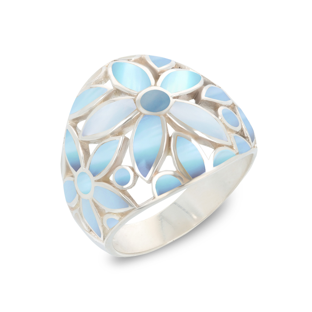 Gift Jewelry-Ring-Flower-Pink Mother of pearl- Sterling Silver-Woman