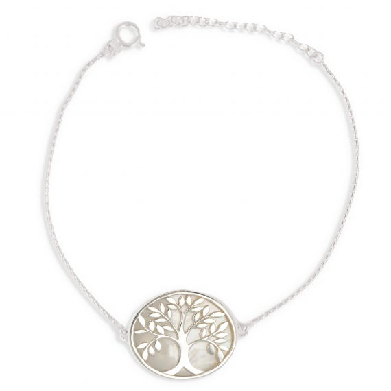 Gioielli regalo Donna Bracciale Madreperla Argento bianco Solid Tree of Life Shape Oval Sterling Silver Woman