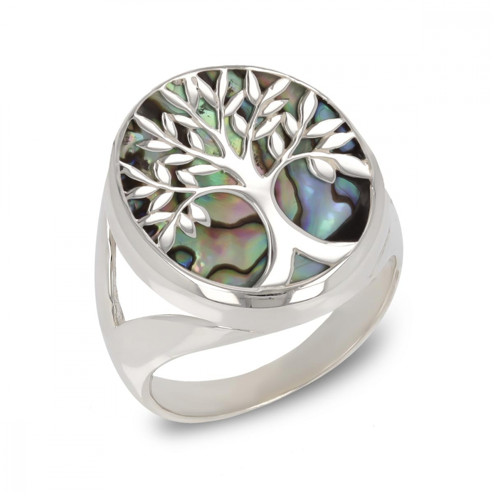 925 Sterling Silver Abalone Mother-of-pearl Tree of Life Ring