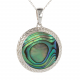 Gift cabochon jewelry-Pendant-Mother of Pearl Abalone- Sterling silver-oval-Woman