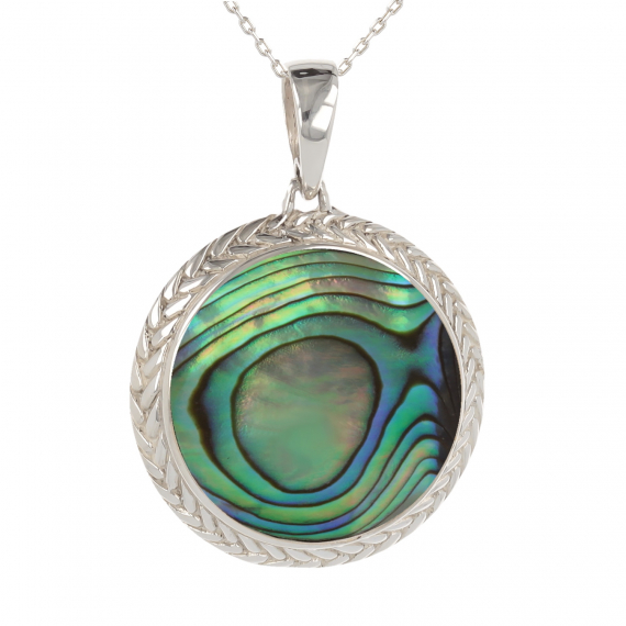 925 Sterling Silver Abalone Mother-of-pearl Round Shape Pendant
