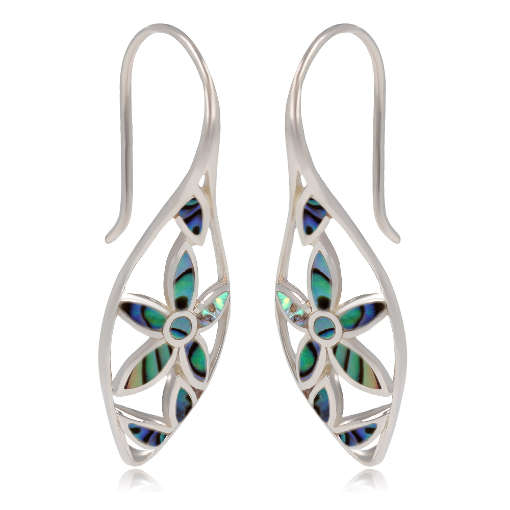 Jewelery Gift- Earrings - Abalone Mother of pearl- Flower-Sterling Silver-Woman