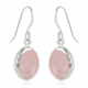 Oval-shaped pink quarz earrings set with sterling silver