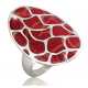 Turtle back sterling silver Coral Ring