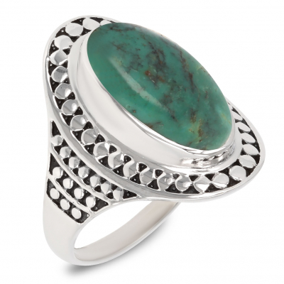 Gift Idea Mom-Ring- Turquoise Stone-Sterling Silver-Woman-Blue