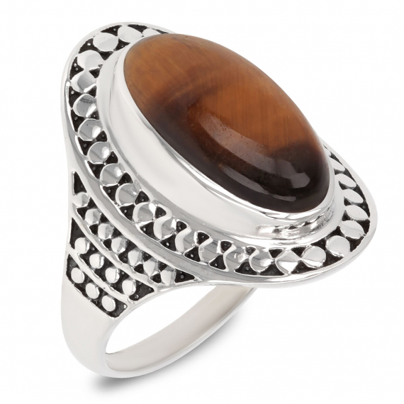 925 Sterling Silver Eye of Tiger Oval Shape Ring