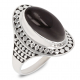 Gift Idea Mom-Ring- Obsidian Stone-Sterling Silver-Woman-Black