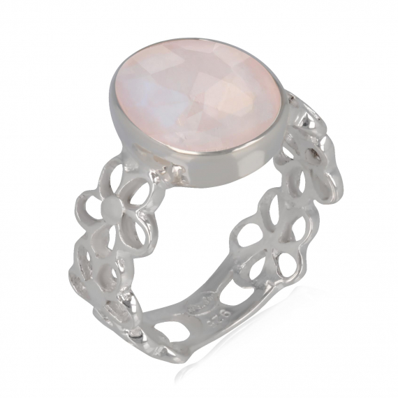 Anello idea regalo Mom Rose Quarzo Anello in argento sterling Anello donna fiore rosa