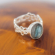 Gift Idea Mom-Ring- Labradorite Stone-Sterling Silver-Woman-Blue-Ring Flower