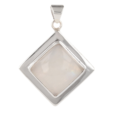 Personalized Gift Woman - Pendant - Moonstone-Square Shape - Sterling Silver - Woman