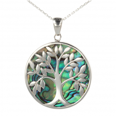 Jewelery Gift Symbol Tree of Life-Pendant - Mother of Pearl Abalone- Sterling Silver-Round-Unisex