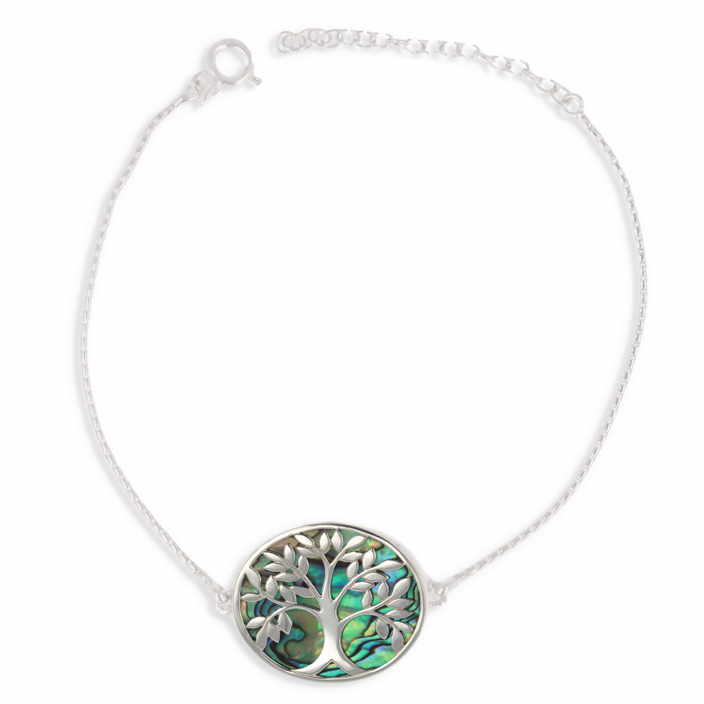 Gift Jewelry Woman-Bracelet- Mother of Pearl Abalone- Sterling Silver-Tree of Life-Oval Shape- Sterling Silver-Woman