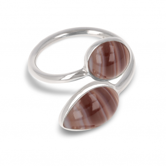 925 Sterling Silver Brown Agate Ring
