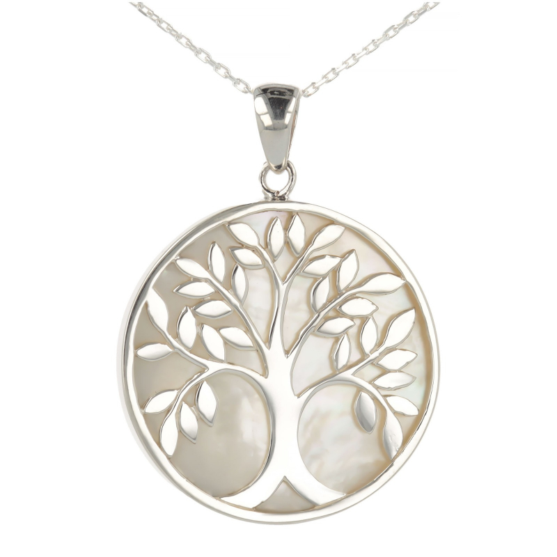 925 Sterling Silver White Mother-of-pearl Tree of Life Round Shape Pendant