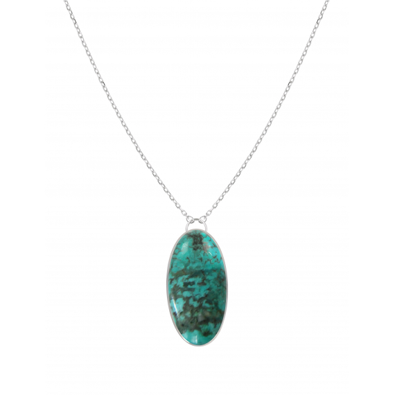 925 Sterling Silver Turquoise Oval Shape Necklace