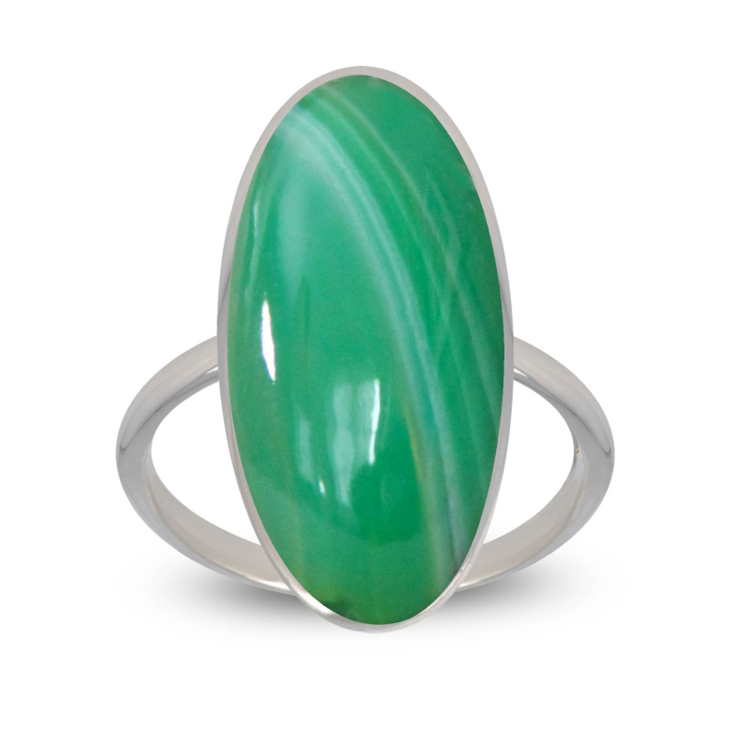 birthday gift woman ring woman green agate and rhodium silver 925-000