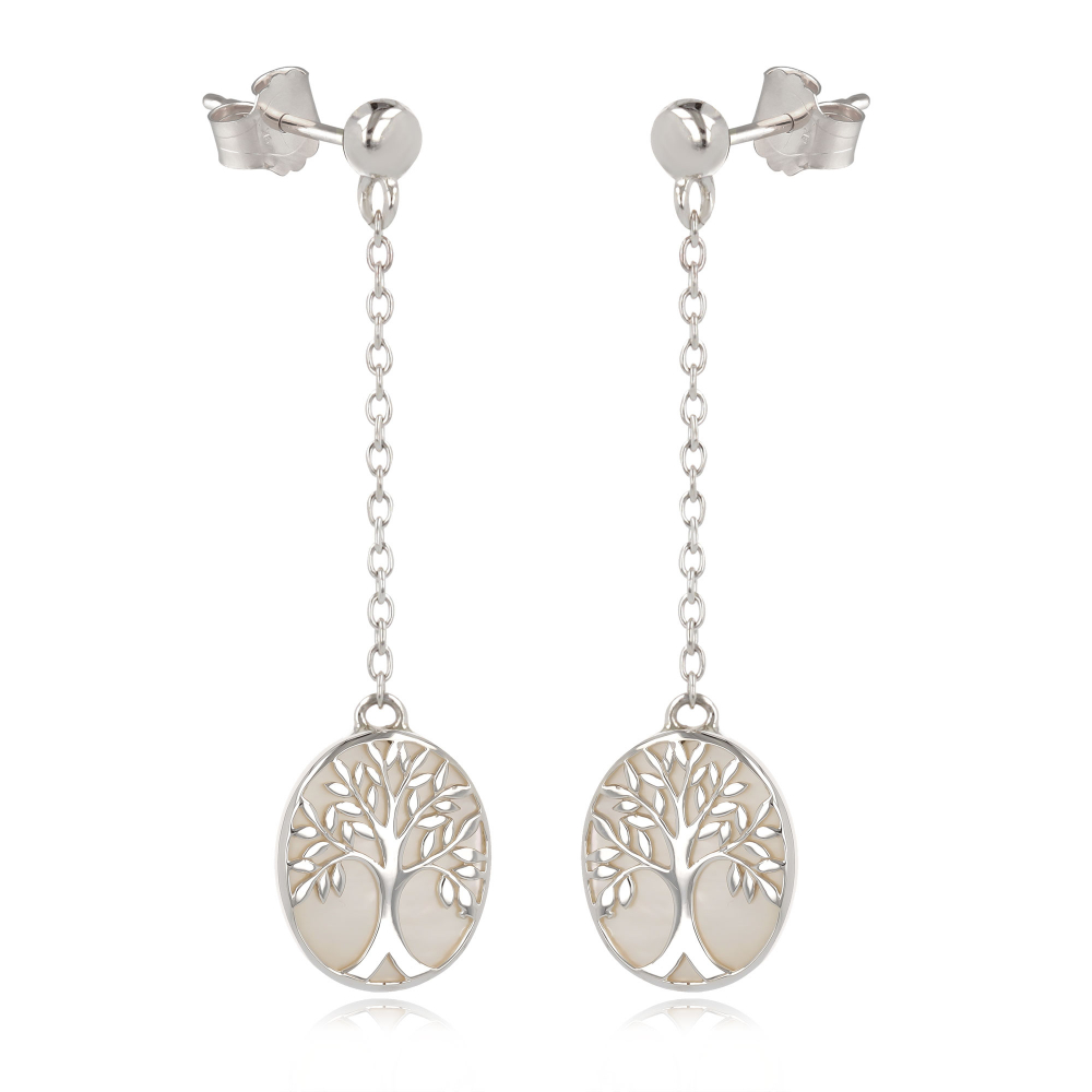 gift idea for women-Gift Jewelry Symbol Tree of Life-Earrings - white mother of pearl Sterling Silver-Oval-Woman