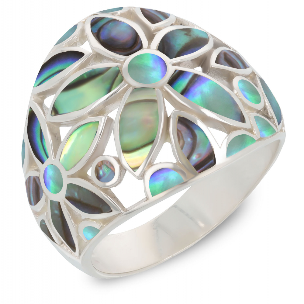925 Sterling Silver Abalone Mother-of-pearl Flower Ring