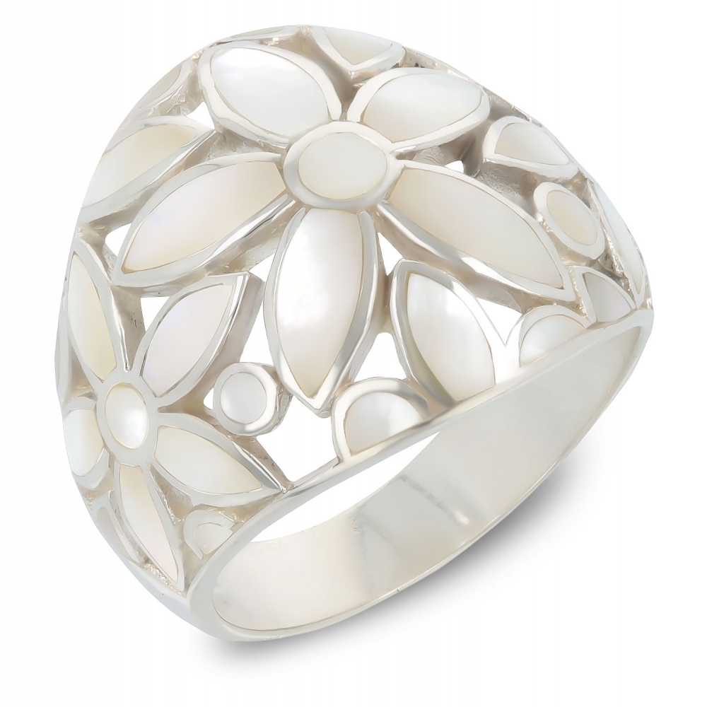 Gift Jewelry-Ring-Flower-White Mother of pearl- Sterling Silver-Woman
