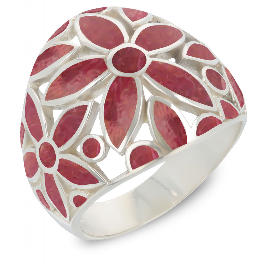 925 Sterling Silver Coral Flower Ring