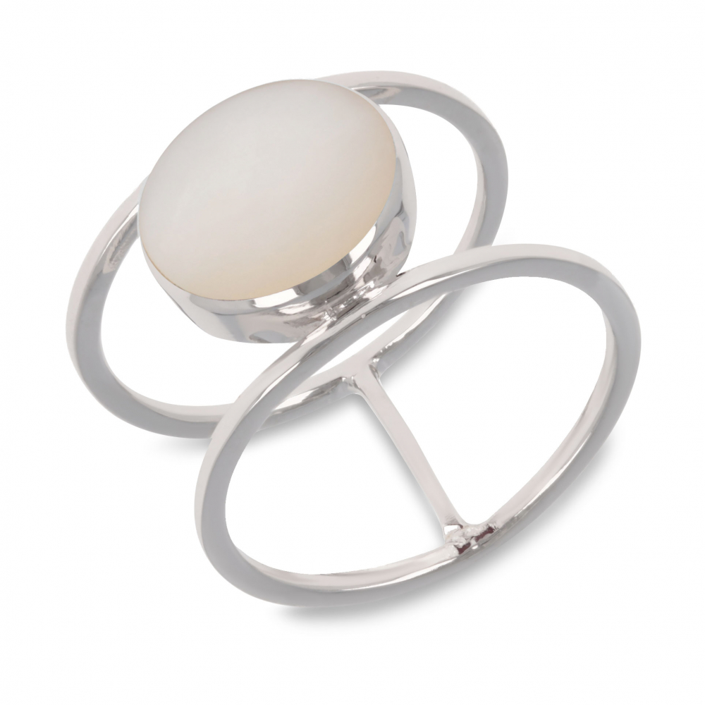 Gift Ideas Women's Jewelry-White Mother-of-Pearl Ring-Sterling Silver-Round-Woman