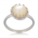 Gift Idea Mom-Creation-White Mother-of-Pearl Ring-Sterling Silver-Round-Woman