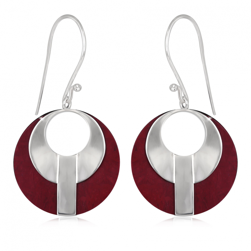 925 Sterling Silver Coral Round Shape Earrings