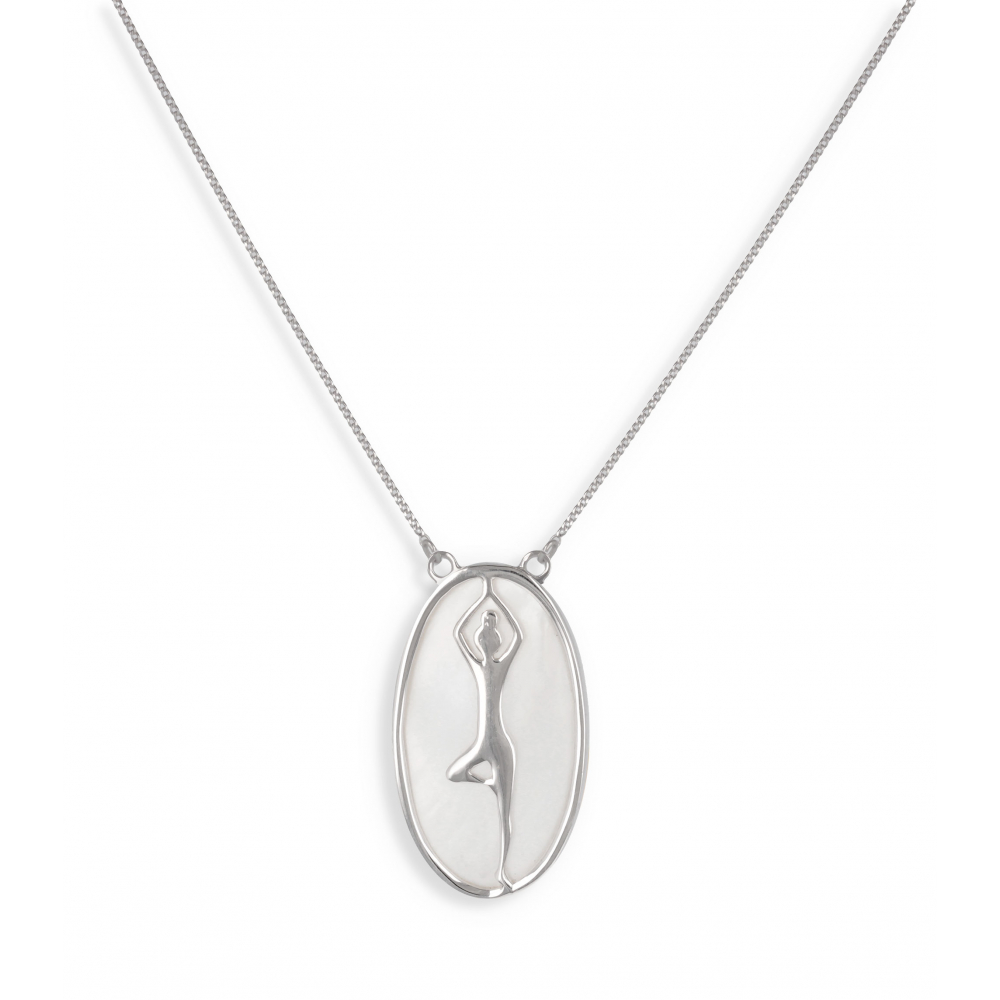 Gift Idea Jewelry Zen Collection-Necklace-mother-of-pearl-yoga- Sterling Silver-oval-Woman