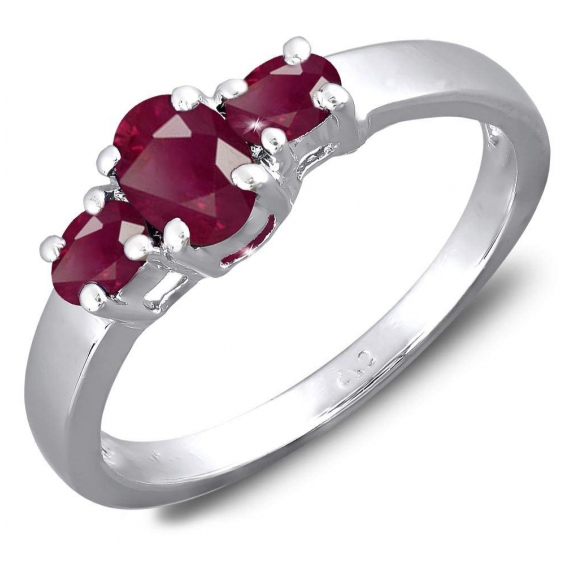 925 Sterling Silver 3 Ruby Ring