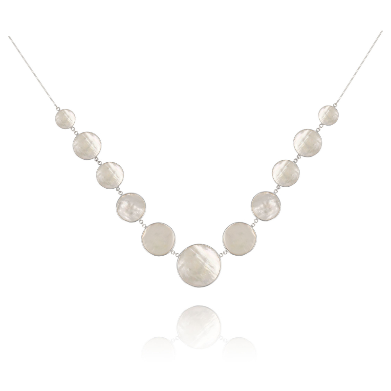 925 Sterling Silver White Mother-of-pearl Round Shape Necklace