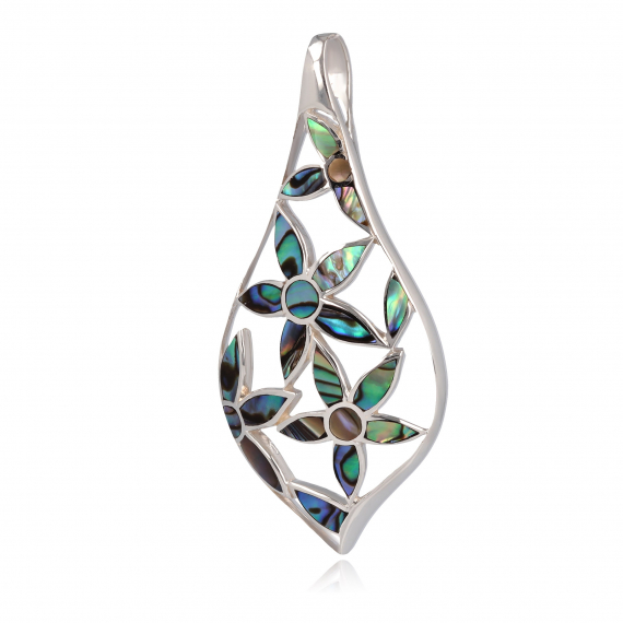 925 Sterling Silver Abalone Mother-of-pearl Flowers Pendant