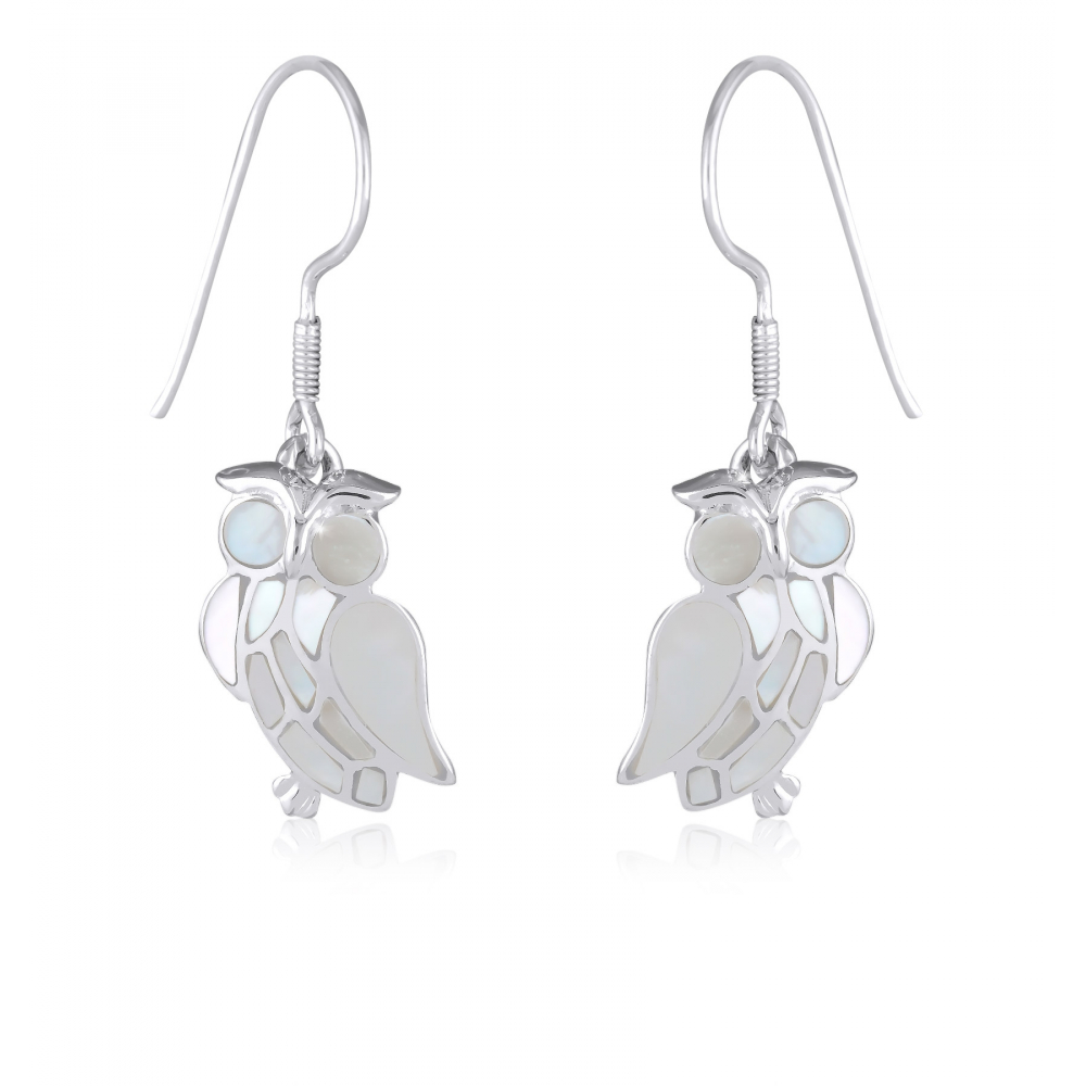 925 Sterling Silver White Mother-of-pearl Owl Earrings