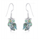 Earrings in owl-owl abalone mother-of-pearl and silver 925-thousandth rhodium