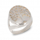 Jewelry Symbol Tree of Life-Ring-Mother of Pearl White- Sterling Silver-Woman