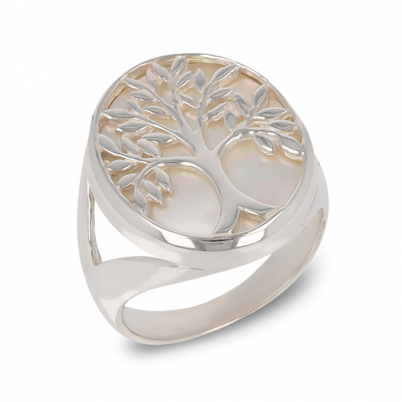925 Sterling Silver White Mother-of-pearl Tree of Life Round Shape Ring