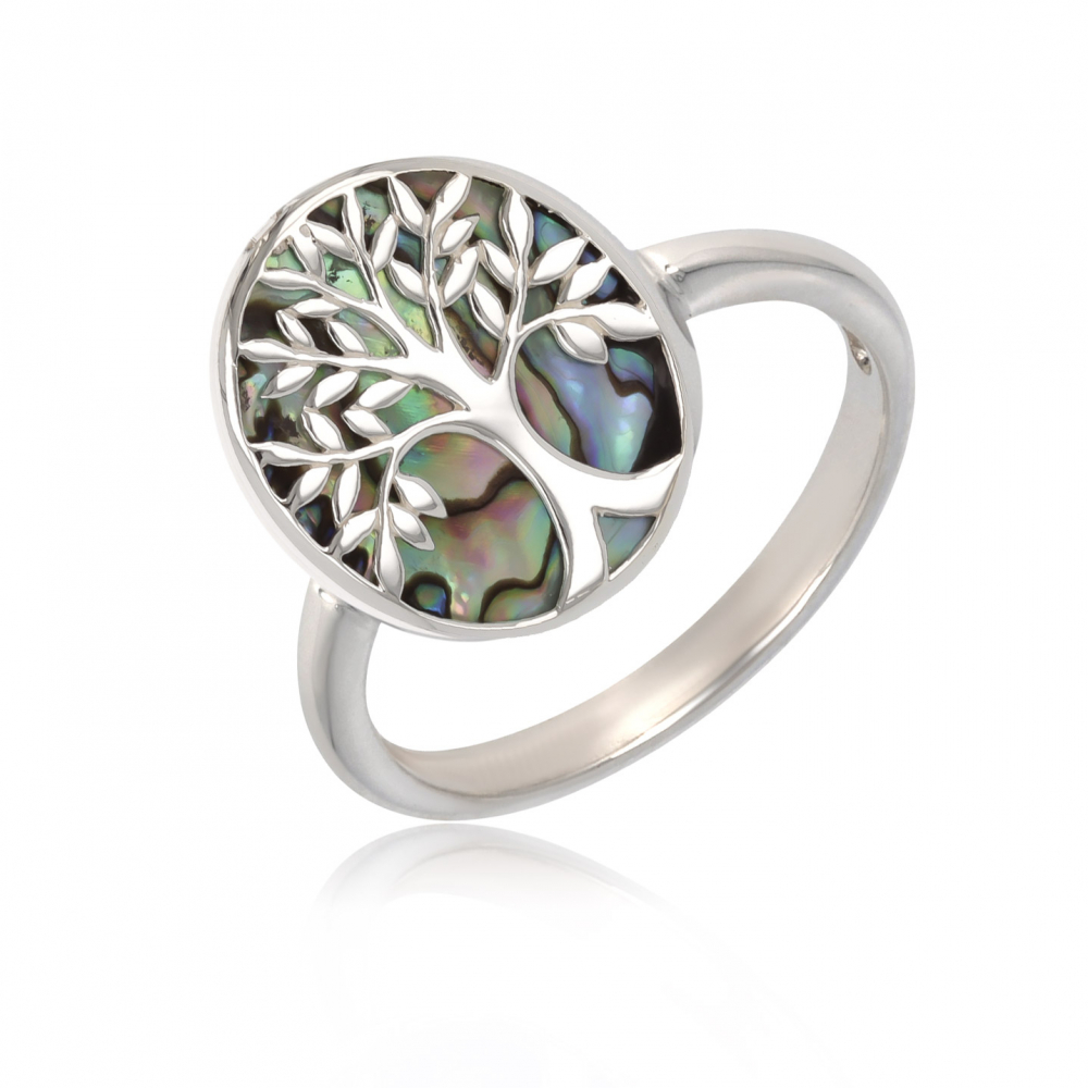 gift idea for women-Gift Jewelry Symbol Tree of Life-Ring - Abalone Mother of pearl- Sterling Silver-Oval-Woman
