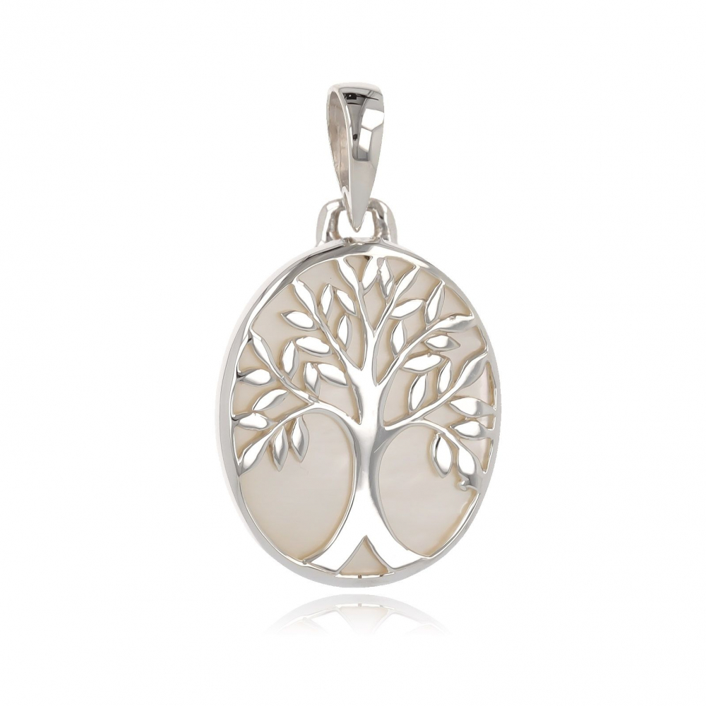 gift idea for women-Gift Jewelry Symbol Tree of Life-Pendant -white mother of pearl- Sterling Silver-Oval-Woman