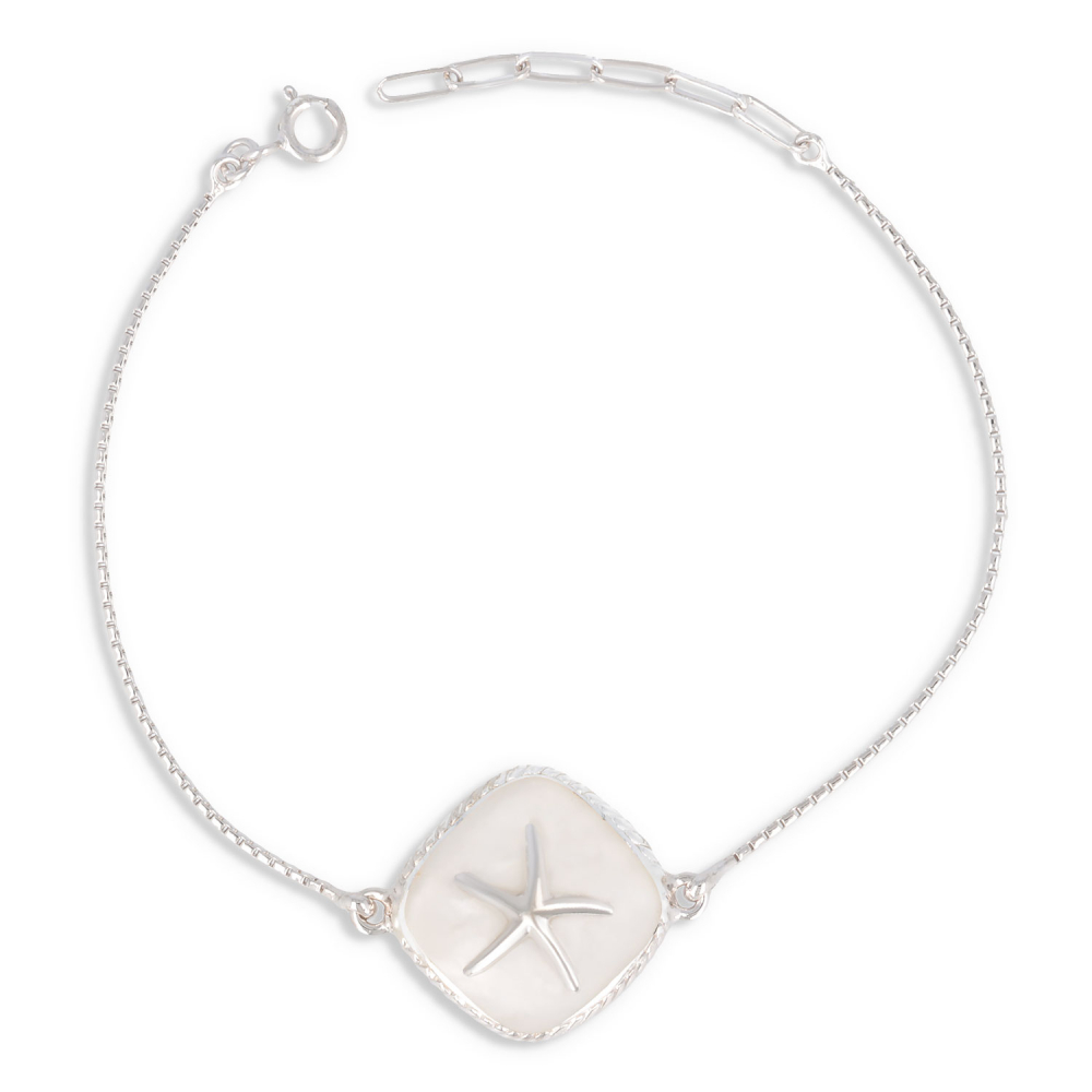 Bracelet starfish mother of pearl white and silver 925 K